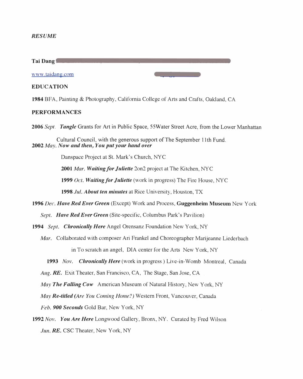 Tai Dang's Resume, pg 1